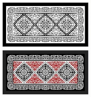 Motif noir et coloré sur le tapis.