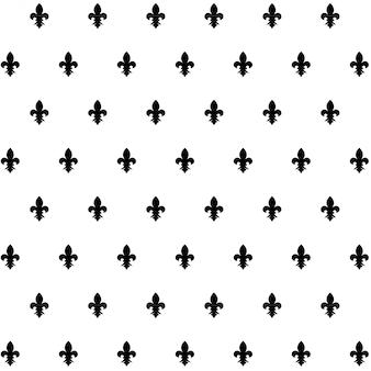 Motif noir vectorielle continue avec fleur de lis sur blanc