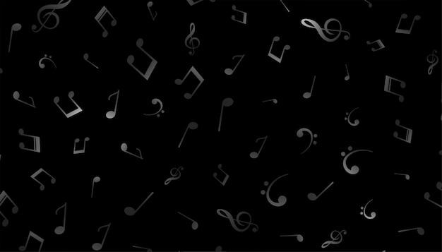 Motif de notes de musique sur fond noir