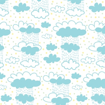 Motif nuage ciel et pluie avec fond de points colorés.