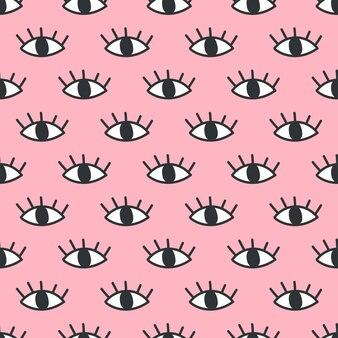 Motif oeil ouvert sans soudure sur fond rose.