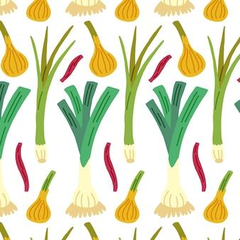 Motif d'oignon vert sans couture. papier numérique vecteur légumes dessinés à la main