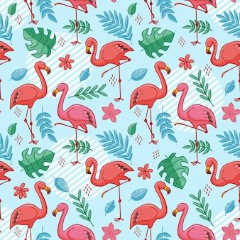 Motif oiseau flamant rose avec des feuilles tropicales