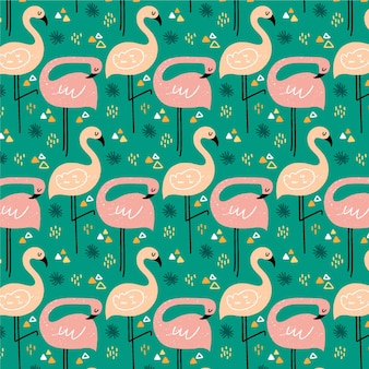 Motif d'oiseau flamant rose illustré