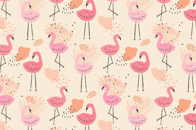 Motif oiseau flamant rose pâle