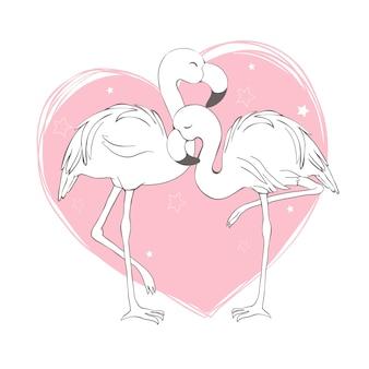 Motif oiseau flamingo