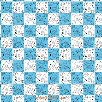 Motif d'oiseaux avec des carrés bleus