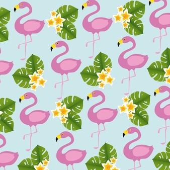 Motif d'oiseaux et de fleurs de flamants roses