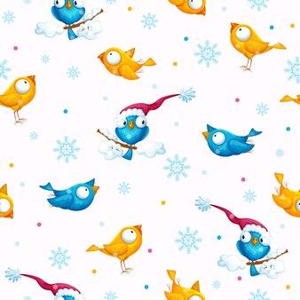 Motif d'oiseaux rigolos pour le nouvel an et noël