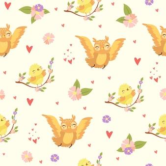 Motif d'oiseaux romantiques