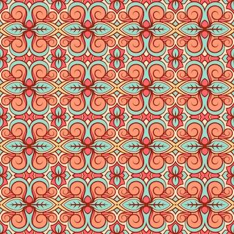 Motif orange et turquoise