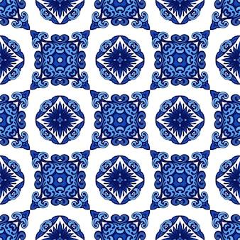 Motif oriental de mosaïque d'impression de texture de tuile de décor avec l'arabesque bleue d'ornement