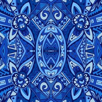 Motif oriental de mosaïque d'impression de texture de tuile de décor avec l'arabesque d'ornement bleu