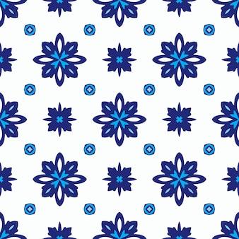 Motif ornemental harmonieux de mandala damassé abstrait pour tissu. tuile d'azulejo bleu