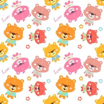 Motif d'ours en peluche coloré