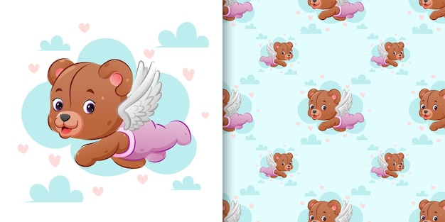 Motif de l & # 39; ours en peluche cupidon mignon vole avec ses ailes dans le ciel