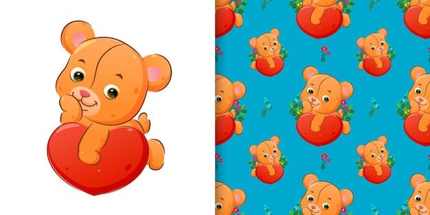 Motif de l & # 39; ours en peluche mignon s'allonger sur le grand coeur