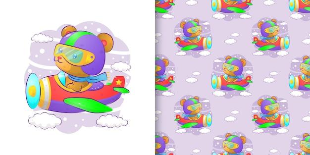 Le motif de l'ours utilisant le costume de pilote et pilotant un avion d'illustration