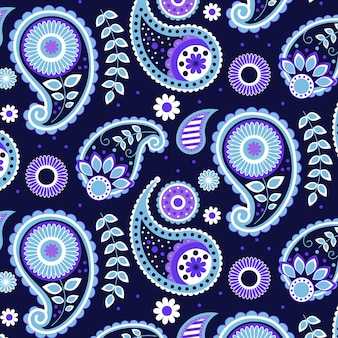 Motif paisley bleu créatif