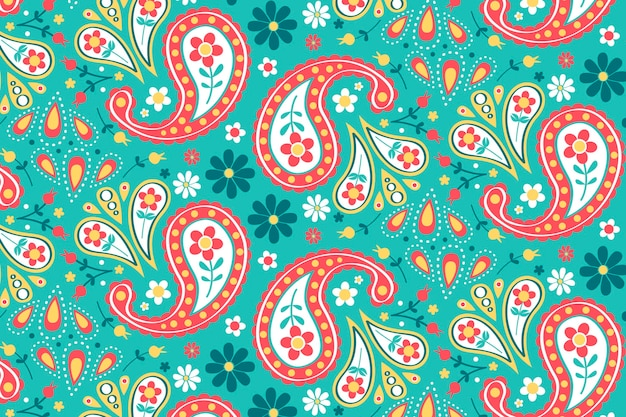 Motif paisley créatif avec des éléments colorés