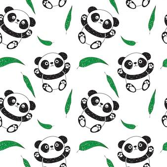 Motif panda et eucalyptus