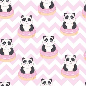 Motif de panda mignon