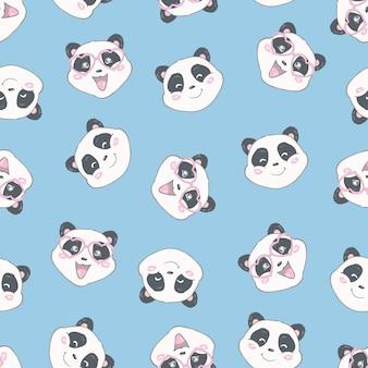 Motif de panda sans couture cartoon