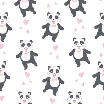 Motif de panda sans couture cartoon