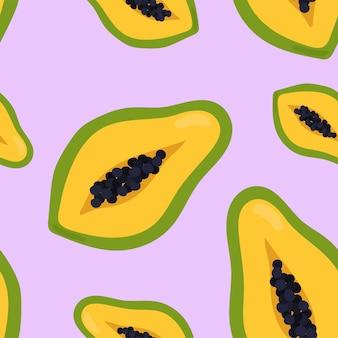 Motif de papaye dessiné main coloré