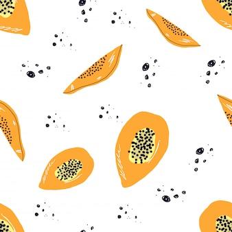 Motif de papaye tropicale