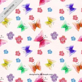 Motif papillon et fleurs d'aquarelle