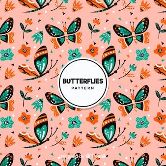 Motif de papillons plats