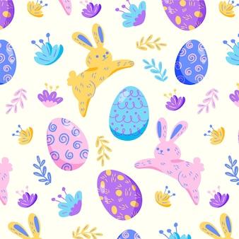 Motif de pâques coloré dessiné à la main