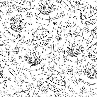 Motif de pâques sans couture dans un style doodle