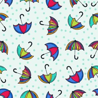 Motif parapluie doodle