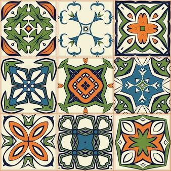 Motif de patchwork sans couture, carreaux, ornements