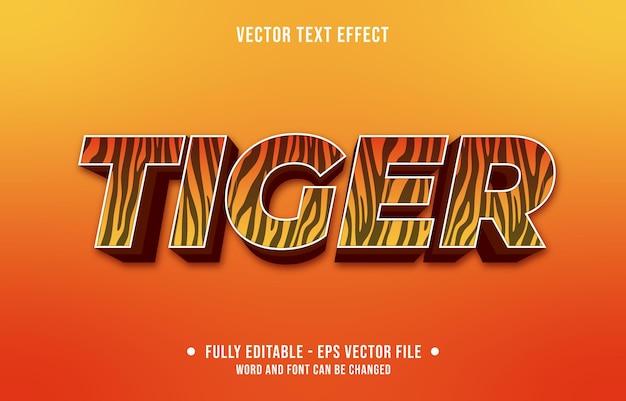 Motif de peau de tigre animal de style dégradé à effet de texte modifiable et couleur orange
