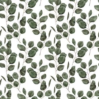Motif peint à la main avec aquarelle d'eucalyptus vert