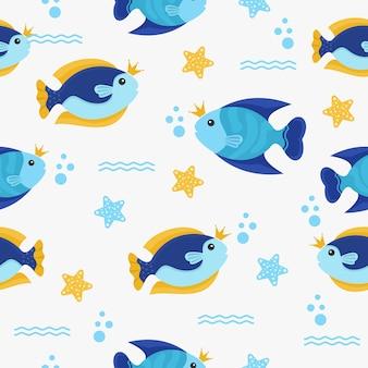 Motif avec personnage de poisson