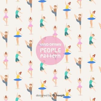 Motif de personnes dessiné à la main