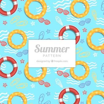 Motif de piscine avec flotteurs