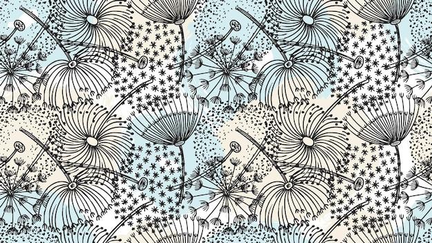 Motif pissenlit. fleurs dessinées à la main, éléments de brosse
