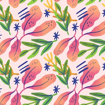 Motif de plantes abstraites dessinés à la main