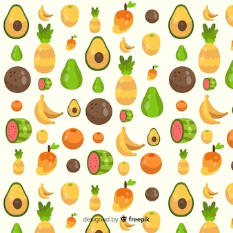 Motif plat de fruits tropicaux