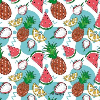 Motif plat de fruits tropicaux