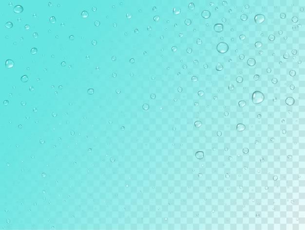Motif de pluie sur fond transparent. gouttes d'eau réalistes pures sur la surface en verre de la fenêtre