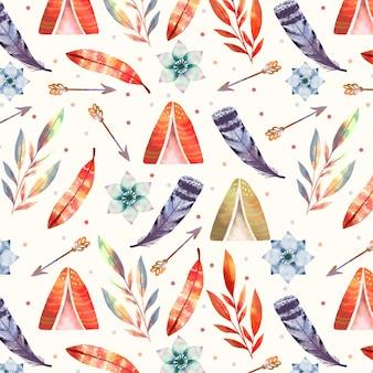 Motif de plumes boho aquarelle
