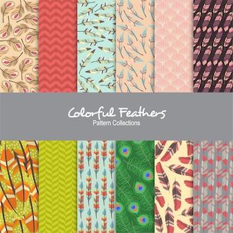 Motif de plumes colorées
