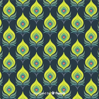 Motif de plumes de paon avec un design plat