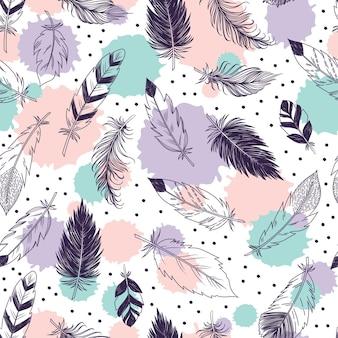 Motif de plumes sans couture dans un style boho.